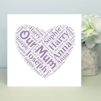 Name Heart Card - Unique Card for a Parent or Grandparent, Ideal for Mother's Day or Father's Day